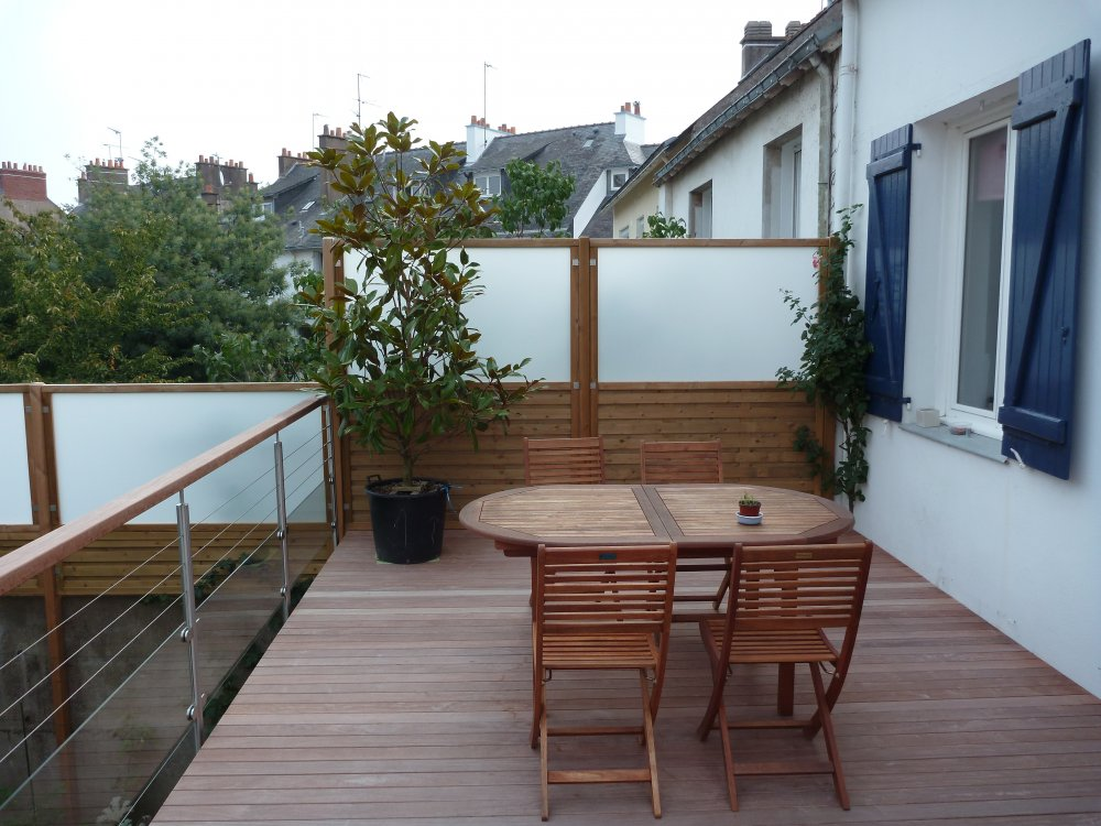 Terrasse bois exotique sur mesure dj cr ation for Carrelage balcon