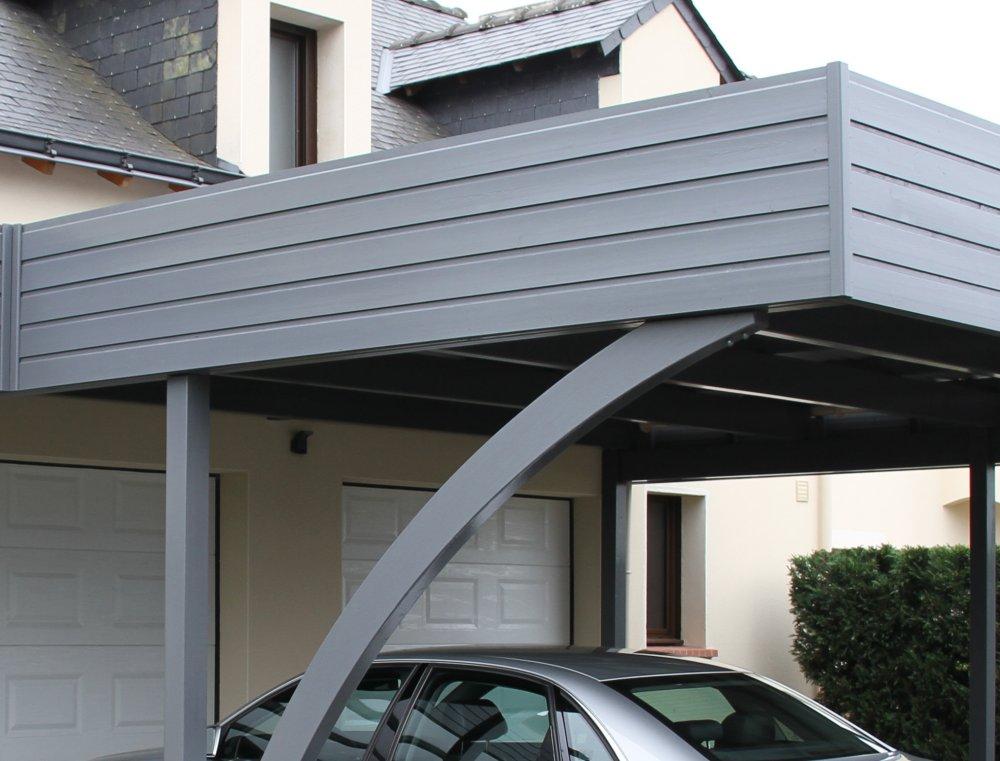 avanc e de garage en bois avec abri entr e de maison dj. Black Bedroom Furniture Sets. Home Design Ideas