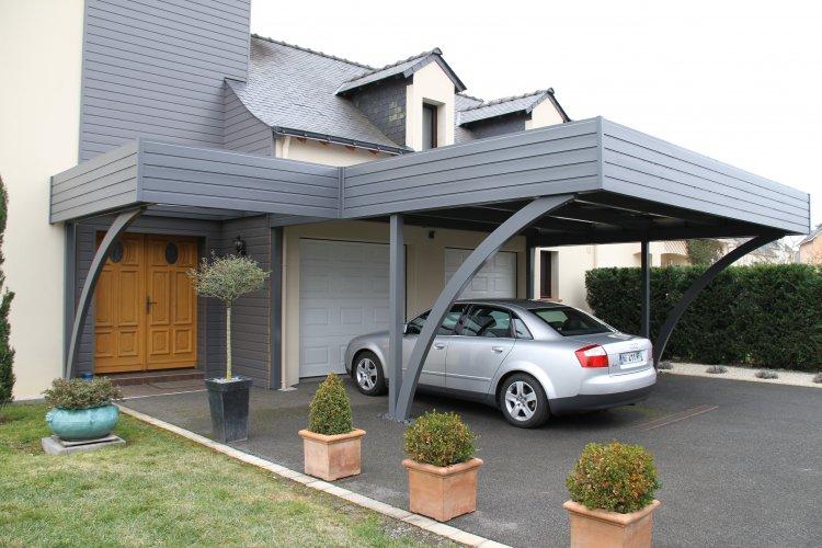 Avanc e de garage en bois avec abri entr e de maison dj for Garage exterieur 2 voitures bois