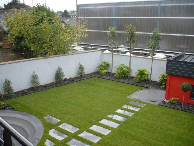 pelouse, bordure, pas japonais